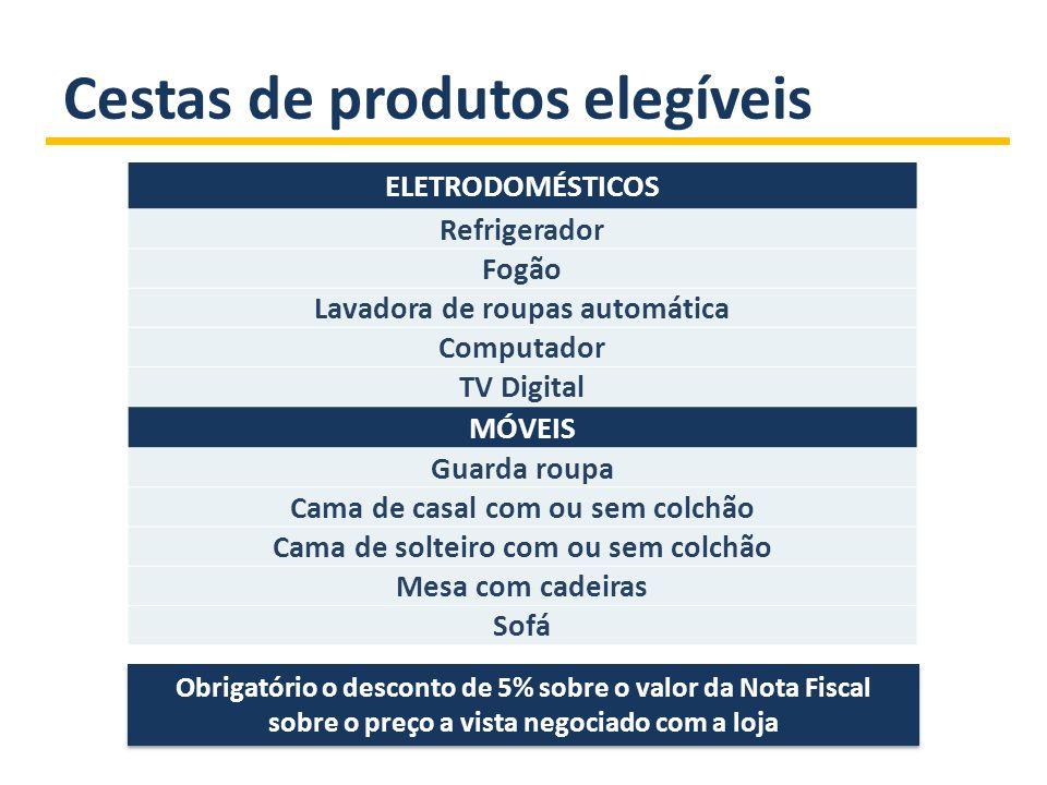Cestas de produtos elegíveis