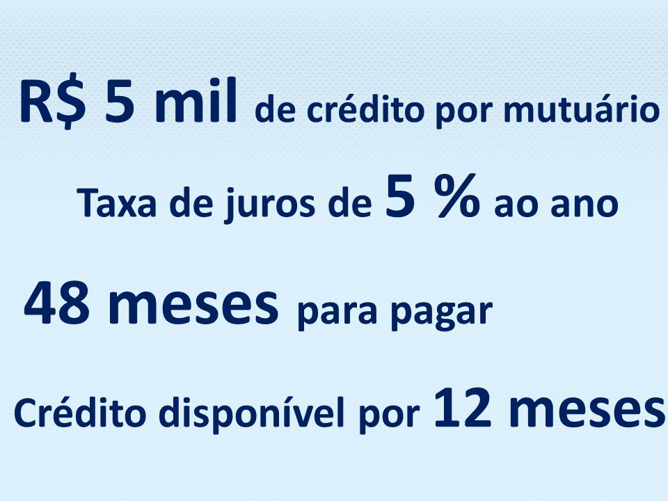 R$ 5 mil de crédito por mutuário Crédito disponível por 12 meses