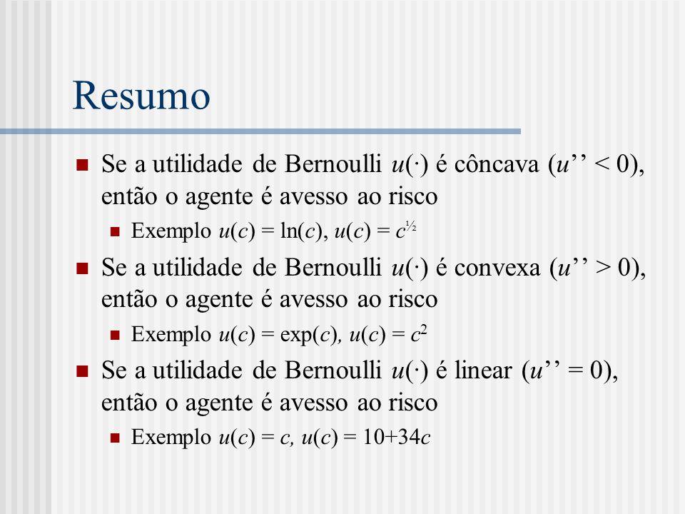 Resumo Se a utilidade de Bernoulli u(·) é côncava (u'' < 0), então o agente é avesso ao risco. Exemplo u(c) = ln(c), u(c) = c½.