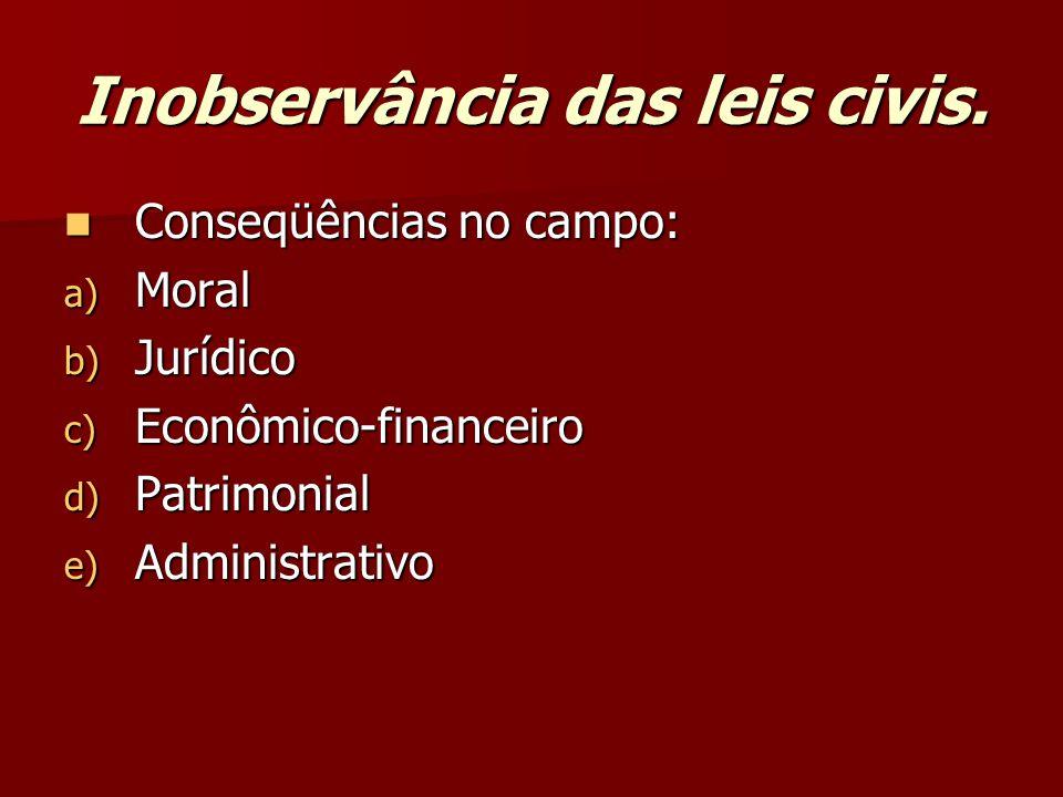 Inobservância das leis civis.
