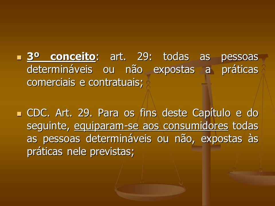 3º conceito: art. 29: todas as pessoas determináveis ou não expostas a práticas comerciais e contratuais;