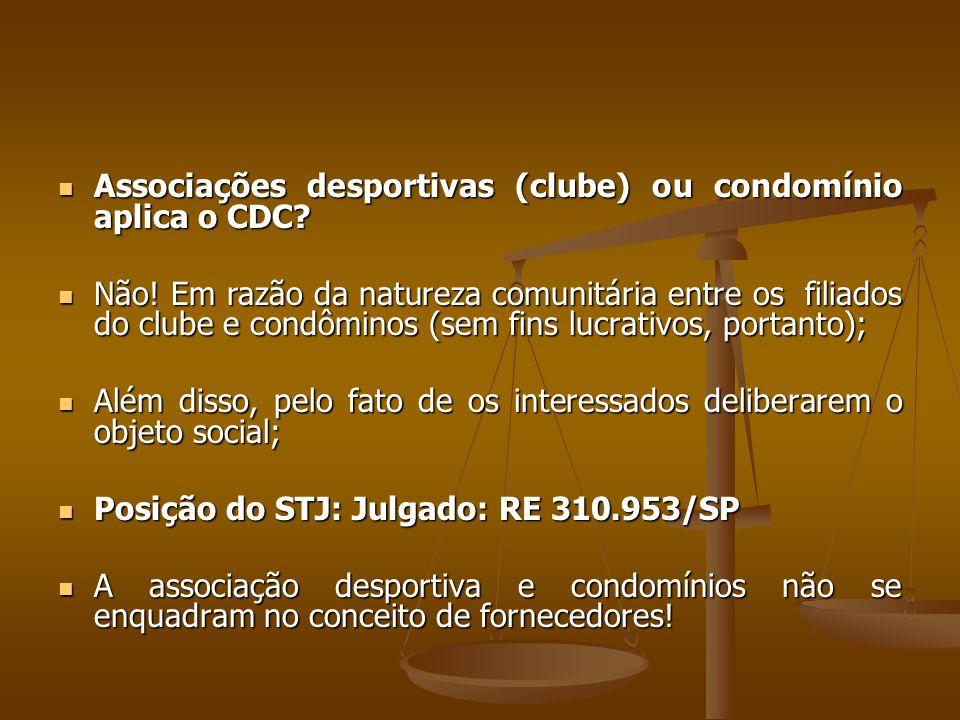 Associações desportivas (clube) ou condomínio aplica o CDC