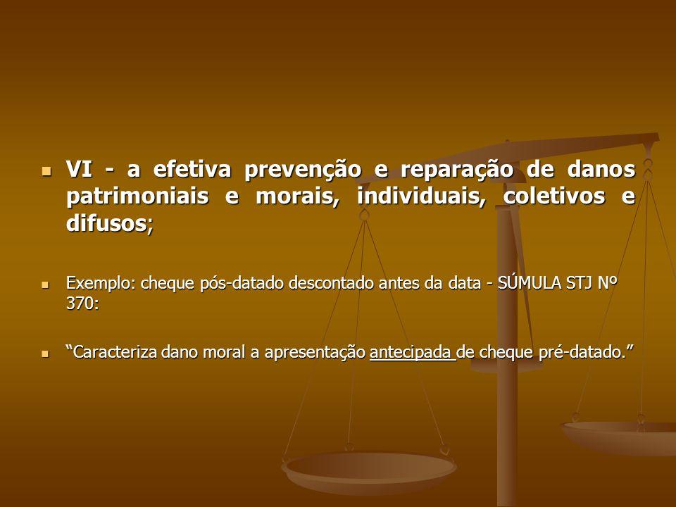 VI - a efetiva prevenção e reparação de danos patrimoniais e morais, individuais, coletivos e difusos;