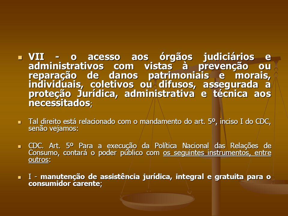 VII - o acesso aos órgãos judiciários e administrativos com vistas à prevenção ou reparação de danos patrimoniais e morais, individuais, coletivos ou difusos, assegurada a proteção Jurídica, administrativa e técnica aos necessitados;