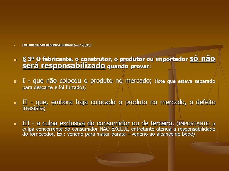 EXCLUDENTES DE RESPONSABILIDADE (art. 12, §3º):
