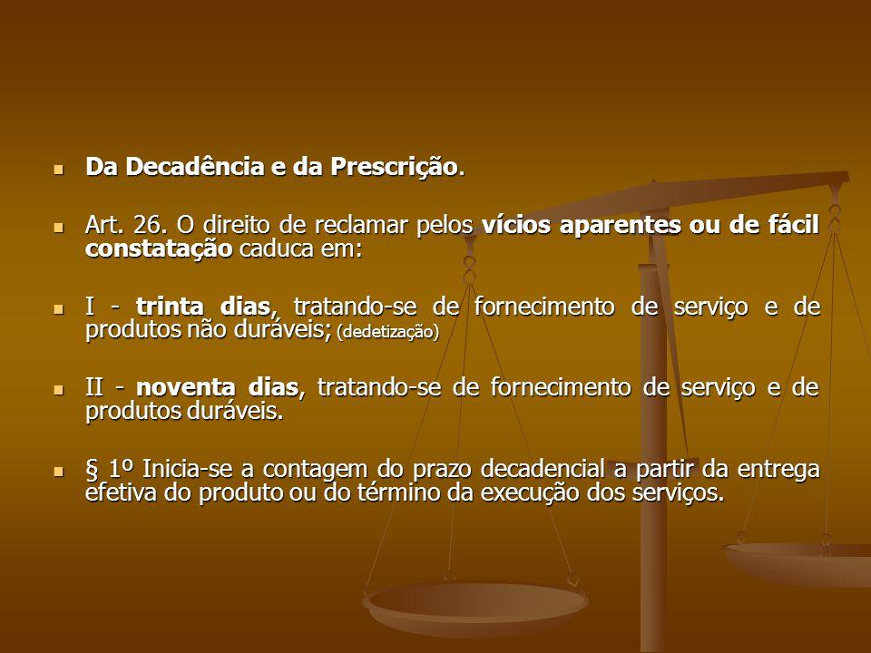 Da Decadência e da Prescrição.