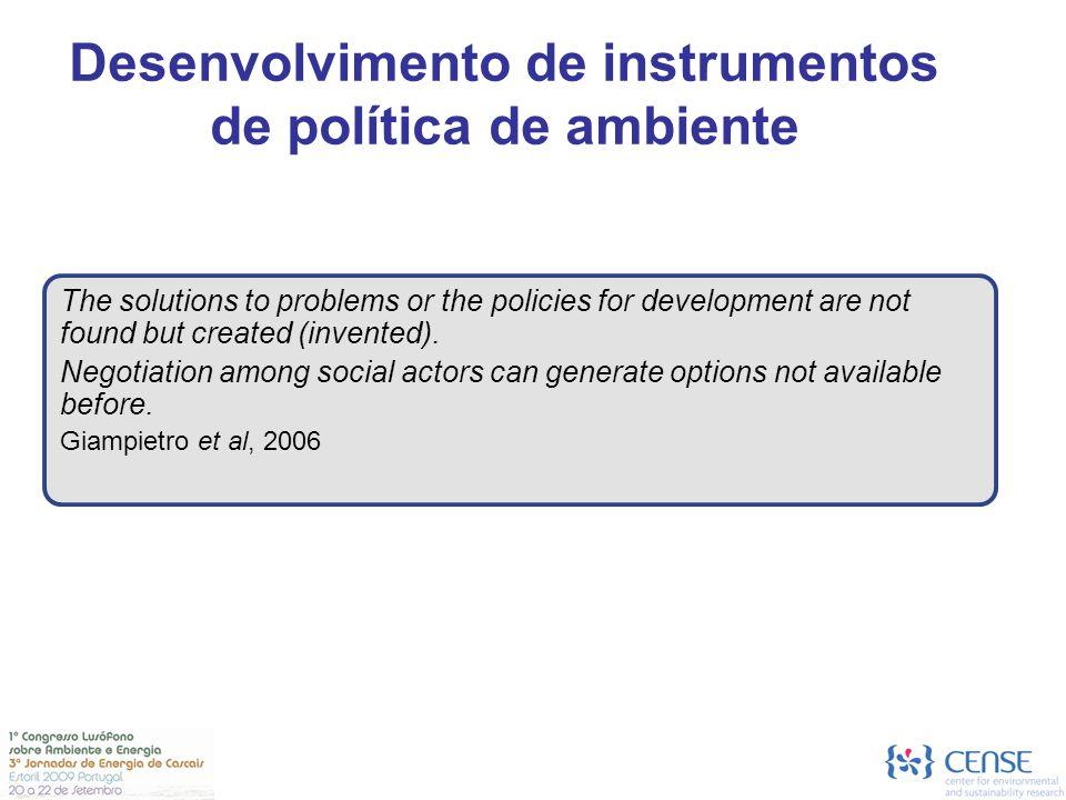 Desenvolvimento de instrumentos de política de ambiente