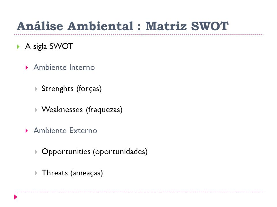 Análise Ambiental : Matriz SWOT