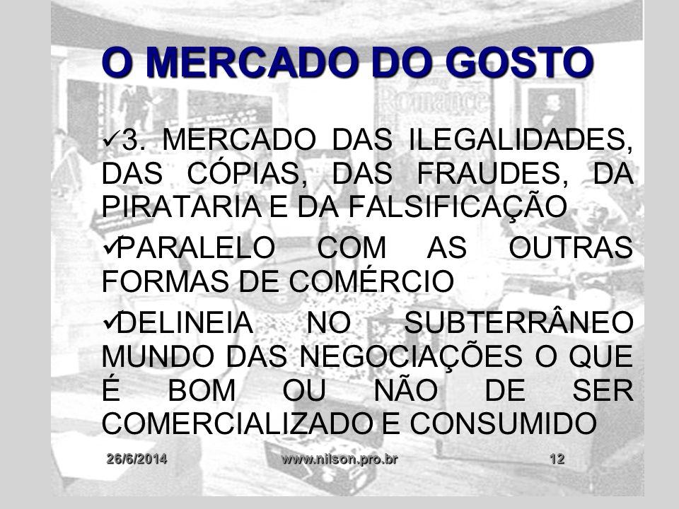 O MERCADO DO GOSTO PARALELO COM AS OUTRAS FORMAS DE COMÉRCIO