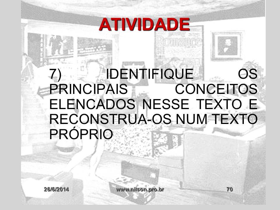 ATIVIDADE 7) IDENTIFIQUE OS PRINCIPAIS CONCEITOS ELENCADOS NESSE TEXTO E RECONSTRUA-OS NUM TEXTO PRÓPRIO.