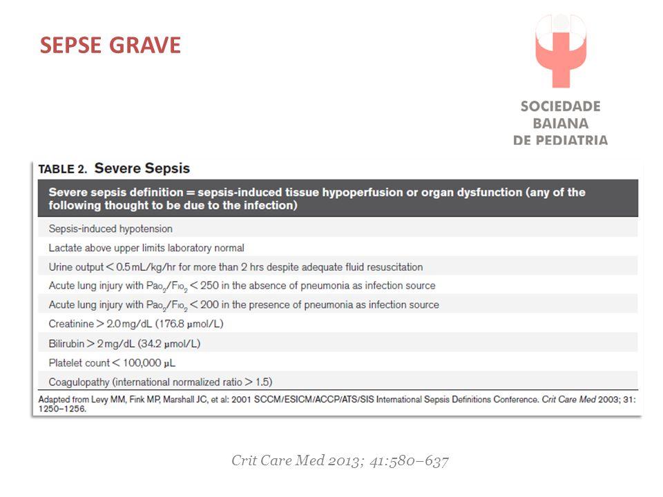 Sepse grave Crit Care Med 2013; 41:580–637
