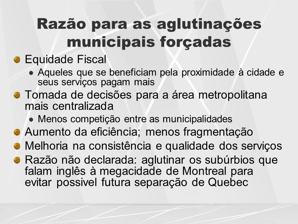 Razão para as aglutinações municipais forçadas