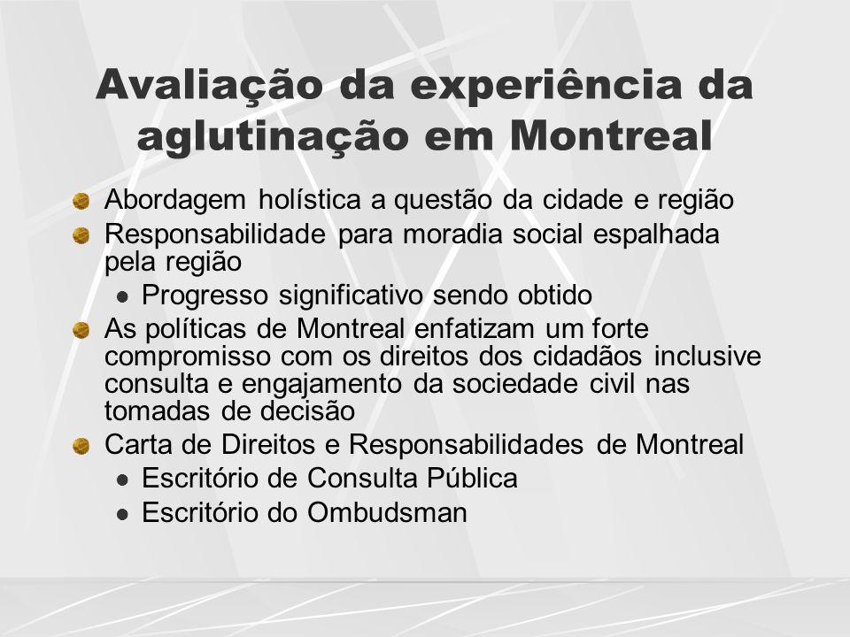 Avaliação da experiência da aglutinação em Montreal