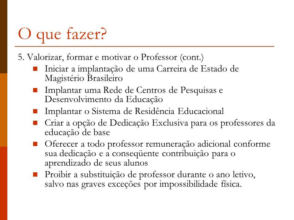 O que fazer 5. Valorizar, formar e motivar o Professor (cont.)