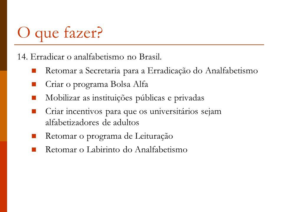 O que fazer 14. Erradicar o analfabetismo no Brasil.