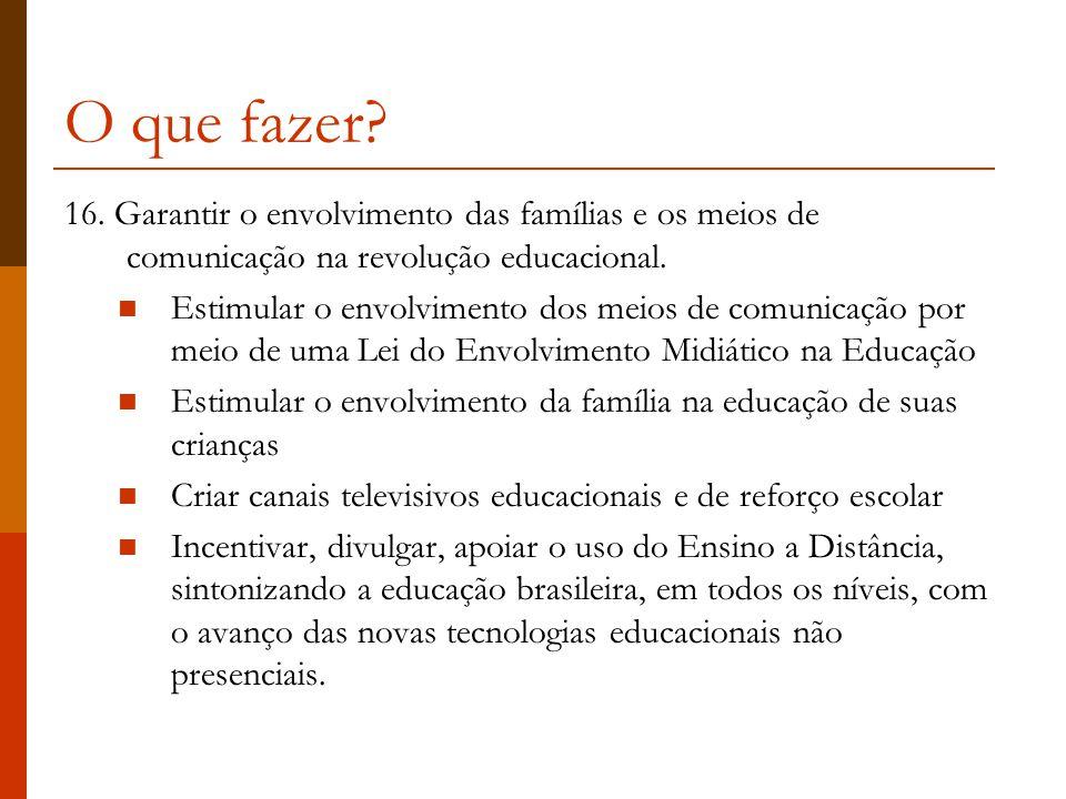 O que fazer 16. Garantir o envolvimento das famílias e os meios de comunicação na revolução educacional.