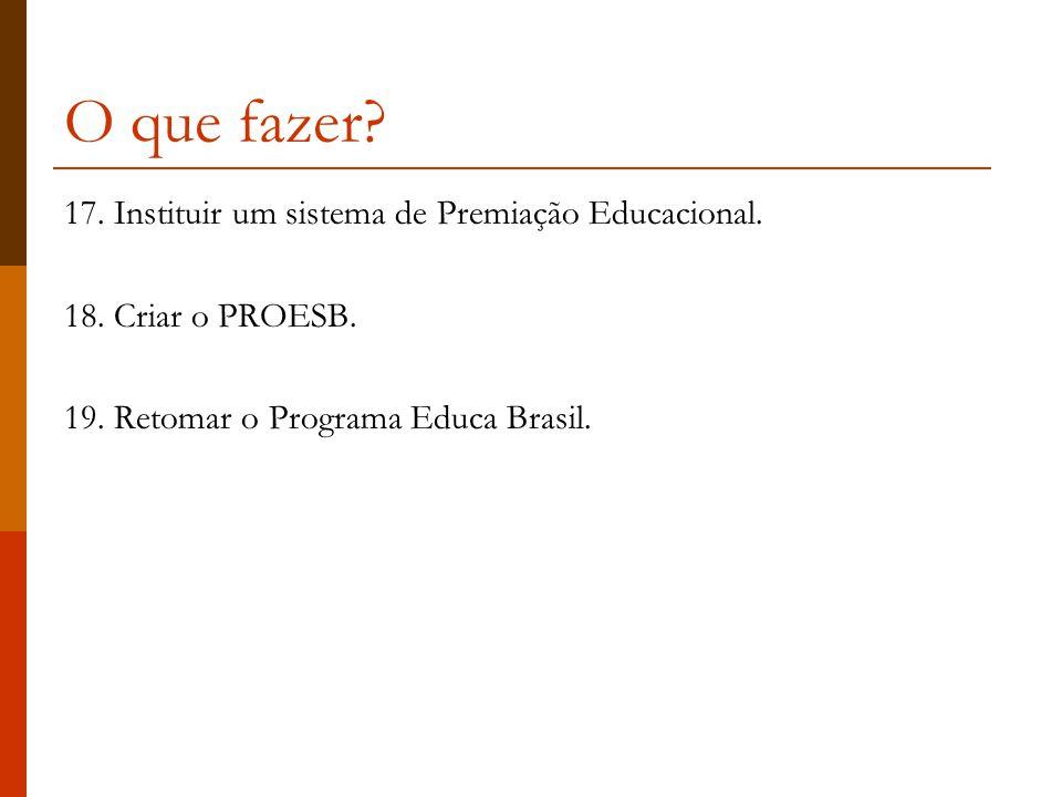 O que fazer 17. Instituir um sistema de Premiação Educacional.