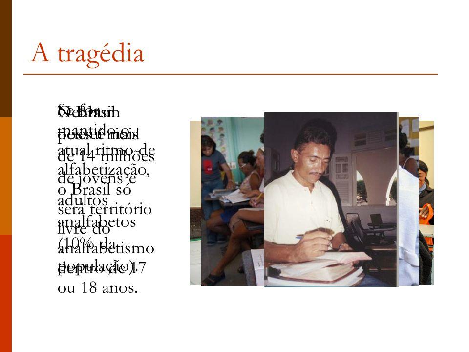 A tragédia Se for mantido o atual ritmo de alfabetização, o Brasil só será território livre do analfabetismo dentro de 17 ou 18 anos.