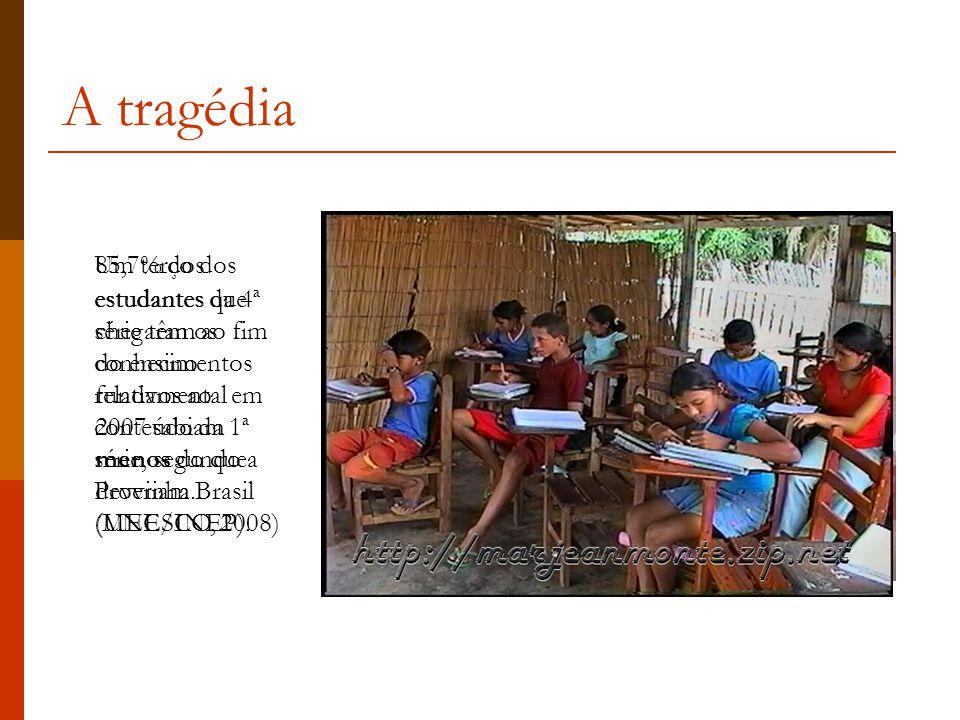 A tragédia Um terço dos estudantes da 4ª série têm os conhecimentos relativos ao conteúdo da 1ª série, segundo a Provinha Brasil (MEC/INEP).