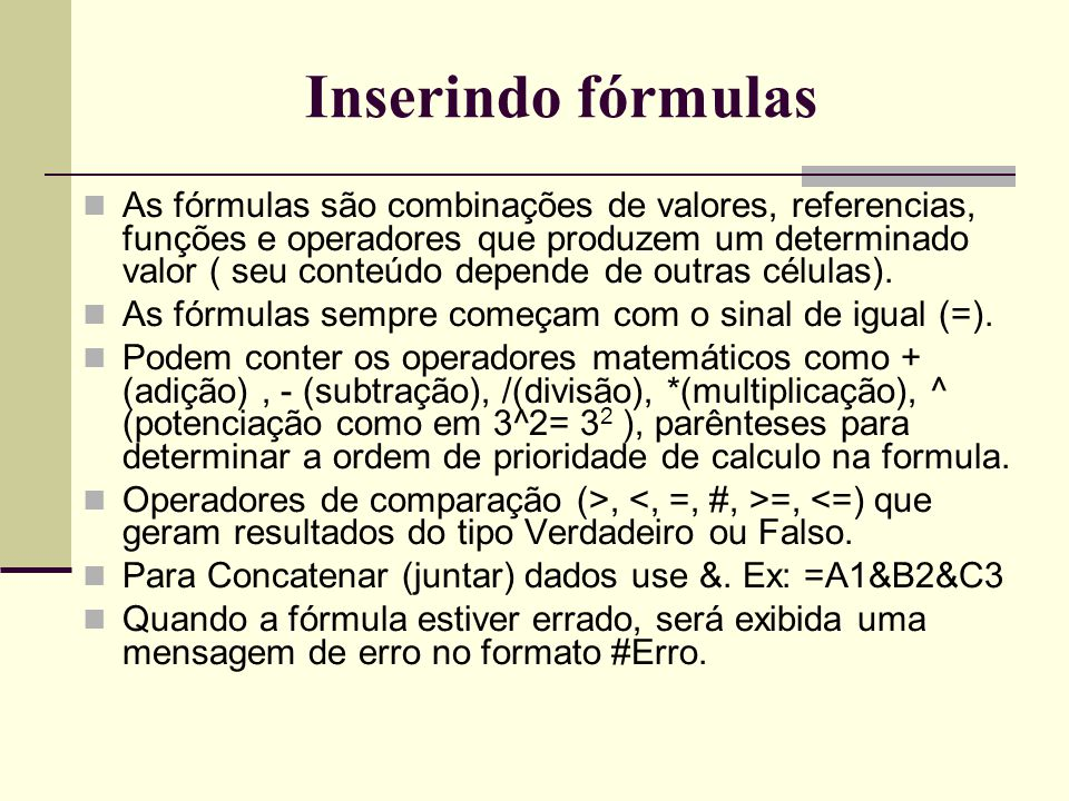 Inserindo fórmulas