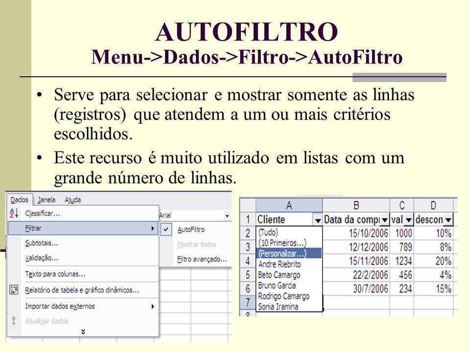 AUTOFILTRO Menu->Dados->Filtro->AutoFiltro