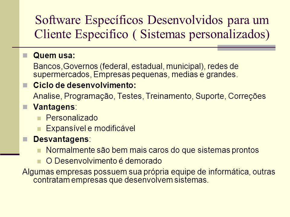 Software Específicos Desenvolvidos para um Cliente Especifico ( Sistemas personalizados)