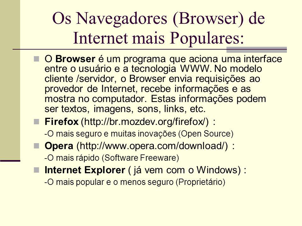 Os Navegadores (Browser) de Internet mais Populares: