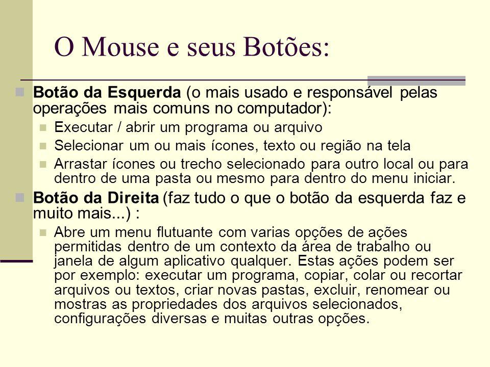 O Mouse e seus Botões: Botão da Esquerda (o mais usado e responsável pelas operações mais comuns no computador):