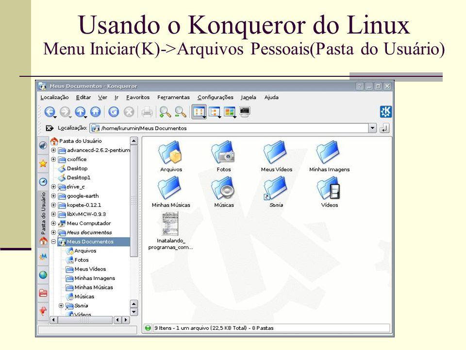 Usando o Konqueror do Linux Menu Iniciar(K)->Arquivos Pessoais(Pasta do Usuário)