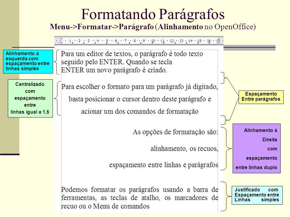 Formatando Parágrafos Menu->Formatar->Parágrafo (Alinhamento no OpenOffice)