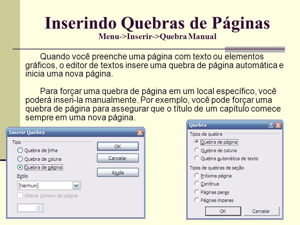 Inserindo Quebras de Páginas Menu->Inserir->Quebra Manual