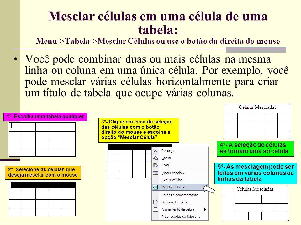 Mesclar células em uma célula de uma tabela: Menu->Tabela->Mesclar Células ou use o botão da direita do mouse