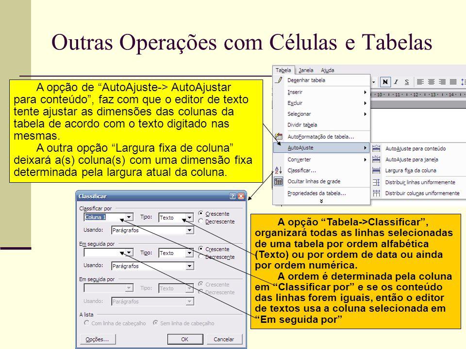 Outras Operações com Células e Tabelas