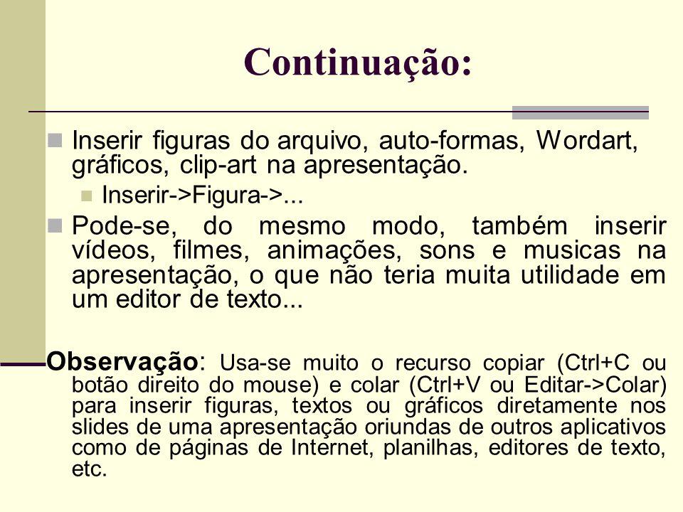 Continuação: Inserir figuras do arquivo, auto-formas, Wordart, gráficos, clip-art na apresentação.