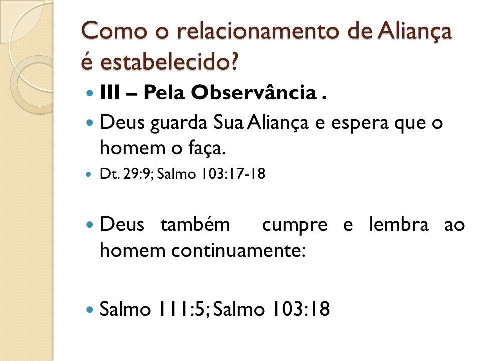 Como o relacionamento de Aliança é estabelecido