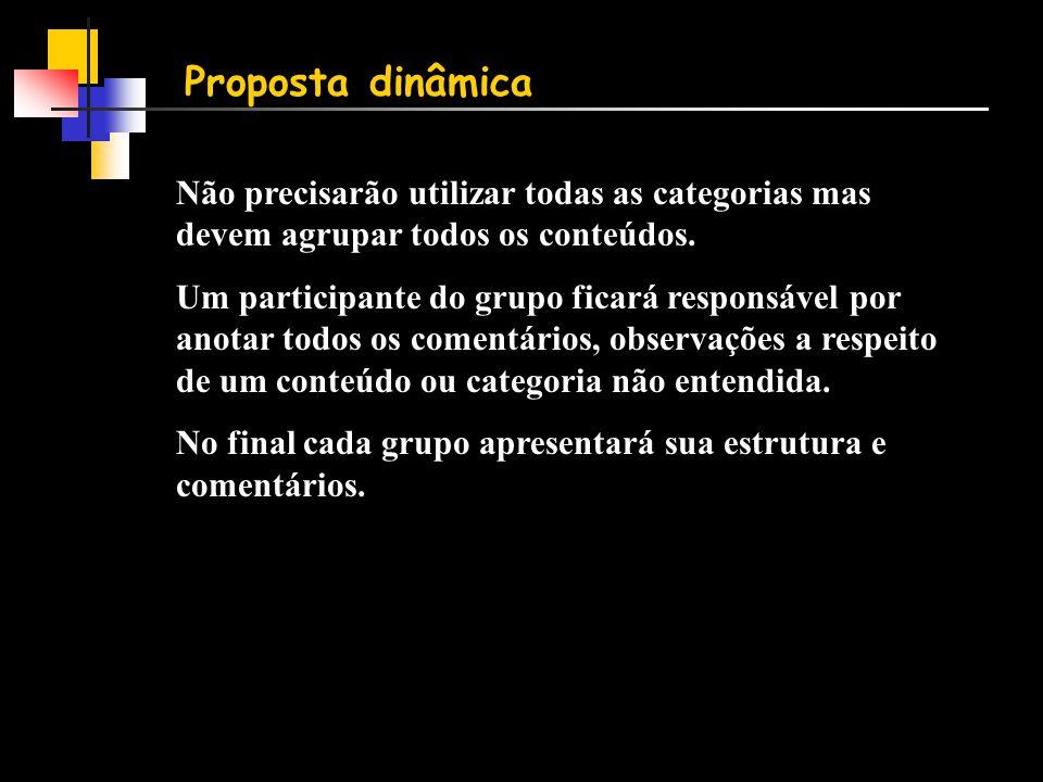 Proposta dinâmica Não precisarão utilizar todas as categorias mas devem agrupar todos os conteúdos.