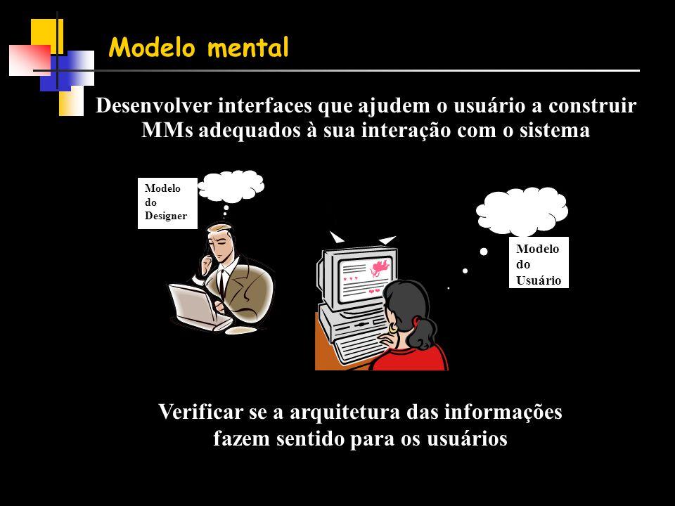 Modelo mental Desenvolver interfaces que ajudem o usuário a construir MMs adequados à sua interação com o sistema.