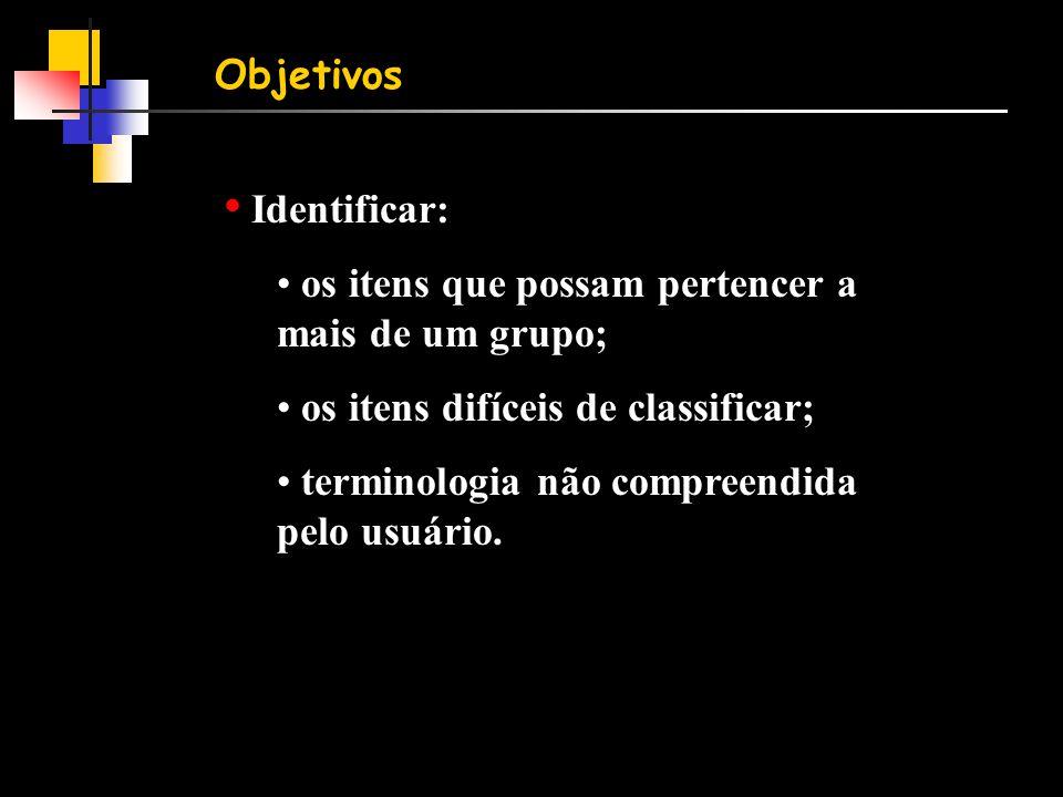 Objetivos Identificar: os itens que possam pertencer a mais de um grupo; os itens difíceis de classificar;