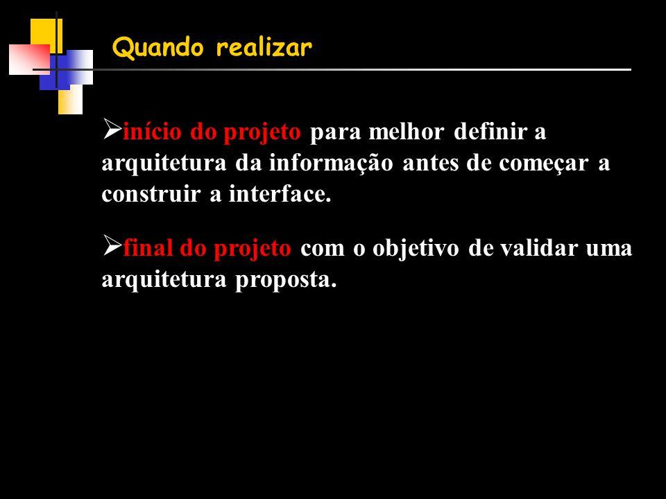 Quando realizar início do projeto para melhor definir a arquitetura da informação antes de começar a construir a interface.