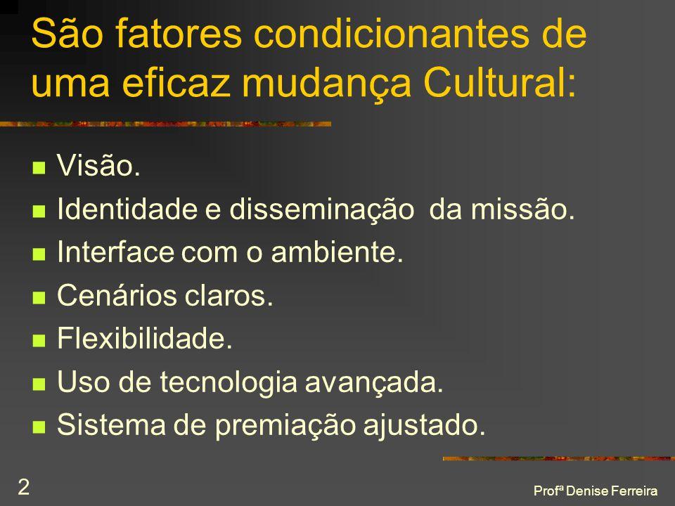 São fatores condicionantes de uma eficaz mudança Cultural: