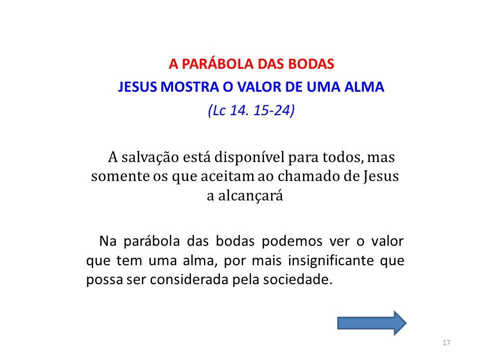 JESUS MOSTRA O VALOR DE UMA ALMA