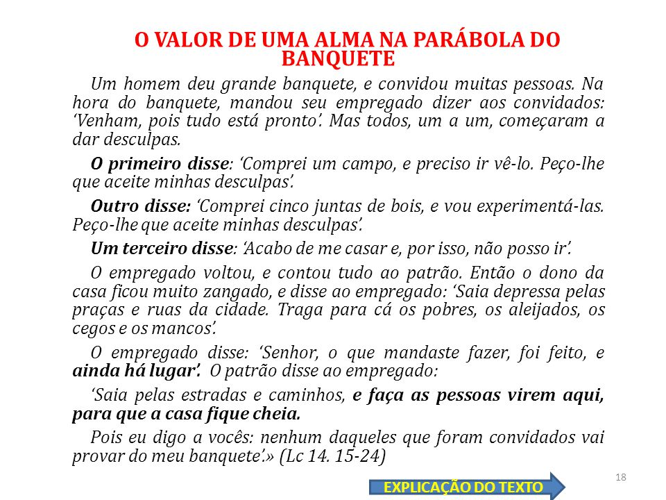 O VALOR DE UMA ALMA NA PARÁBOLA DO BANQUETE