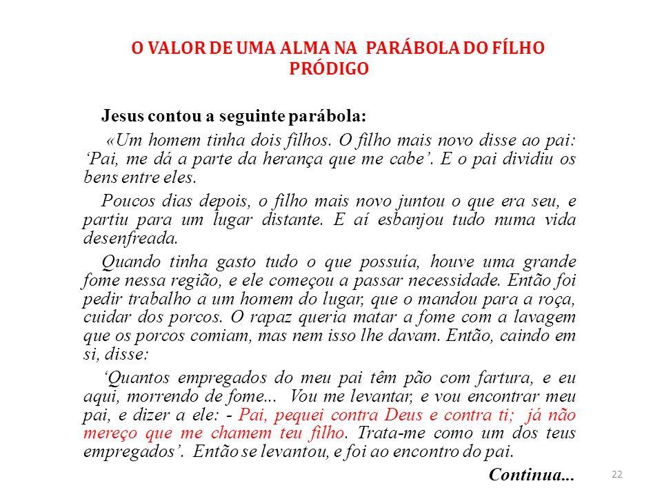 O VALOR DE UMA ALMA NA PARÁBOLA DO FÍLHO PRÓDIGO