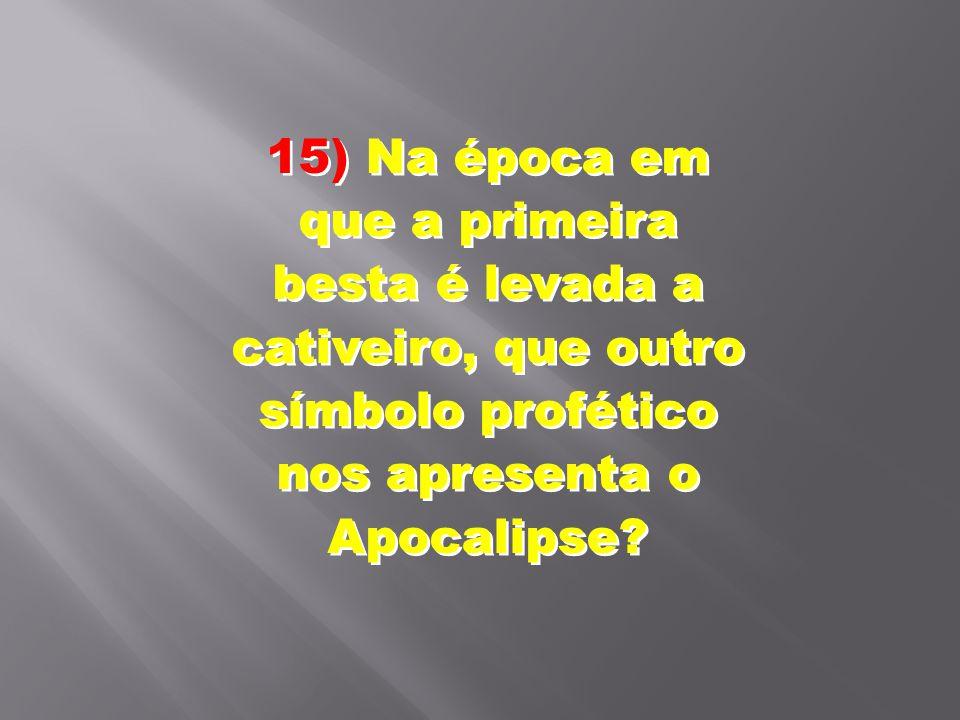 15) Na época em que a primeira besta é levada a cativeiro, que outro símbolo profético nos apresenta o Apocalipse