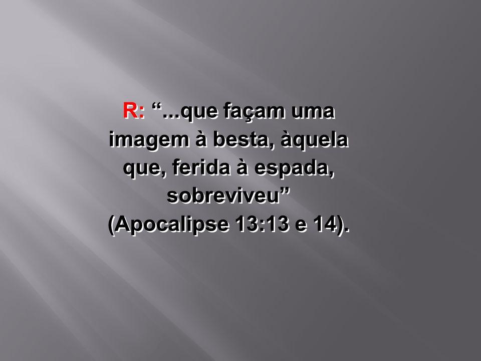 R: ...que façam uma imagem à besta, àquela que, ferida à espada, sobreviveu (Apocalipse 13:13 e 14).