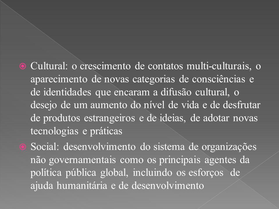 Cultural: o crescimento de contatos multi-culturais, o aparecimento de novas categorias de consciências e de identidades que encaram a difusão cultural, o desejo de um aumento do nível de vida e de desfrutar de produtos estrangeiros e de ideias, de adotar novas tecnologias e práticas