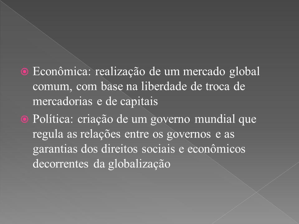 Econômica: realização de um mercado global comum, com base na liberdade de troca de mercadorias e de capitais