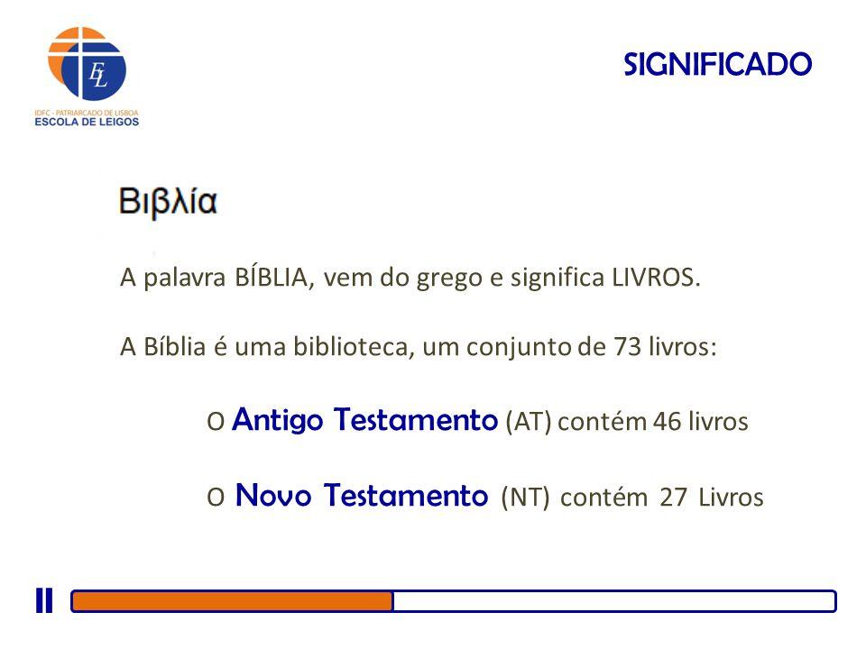 SIGNIFICADO A palavra BÍBLIA, vem do grego e significa LIVROS.