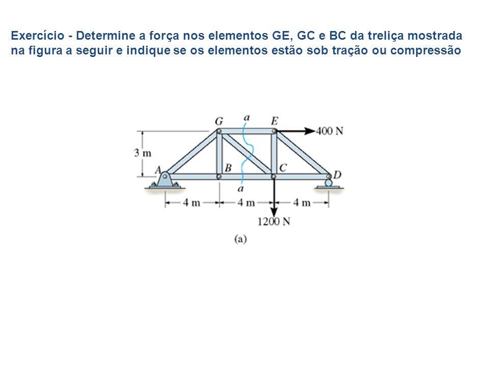 Exercício - Determine a força nos elementos GE, GC e BC da treliça mostrada na figura a seguir e indique se os elementos estão sob tração ou compressão