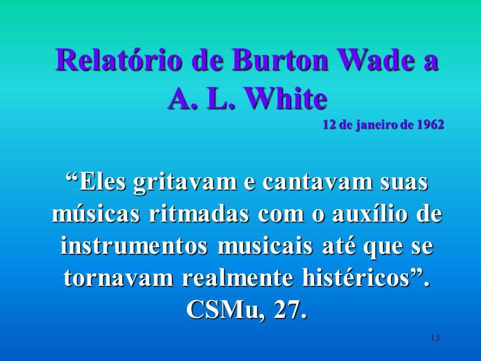 Relatório de Burton Wade a A. L. White